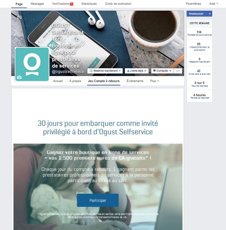 Animation Facebook : jeu en pré-lancement d'une solution pour professionnels de services